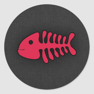 Crimson Red Fish Bones Round Sticker