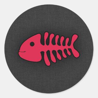 Crimson Red Fish Bones Stickers