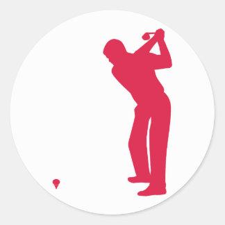 Crimson Red Golf Round Sticker