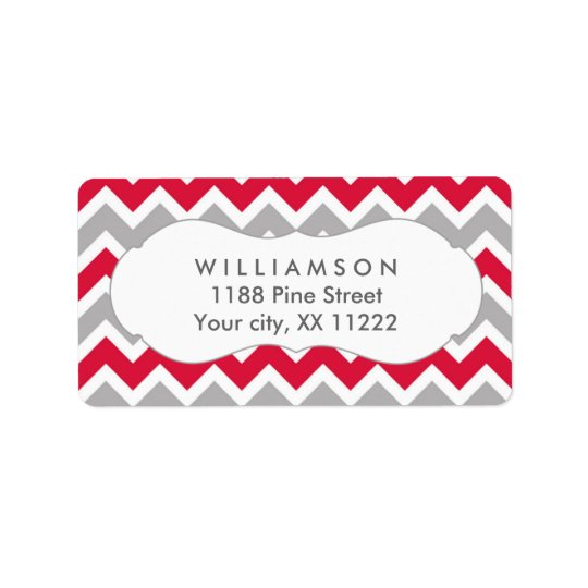 crimson red grey chevron shower favour tag address label
