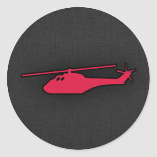 Crimson Red Helicopter Round Sticker
