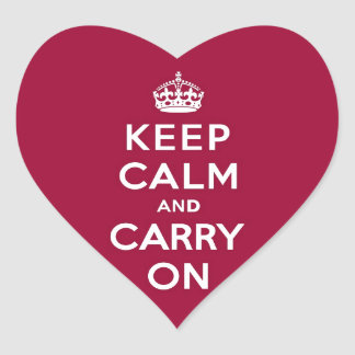 Crimson Red Keep Calm and Carry On (white text) Heart Sticker