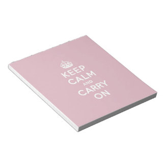 Crimson Red Keep Calm and Carry On (white text) Notepad