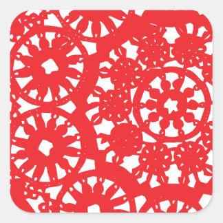 Crimson Red lace Square Sticker