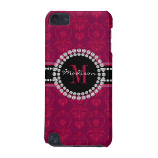 Crimson Red, Magenta Damask, Name and Monogram iPod Touch (5th Generation) Cover