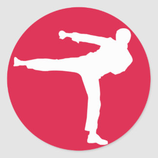 Crimson Red Martial Arts Round Sticker