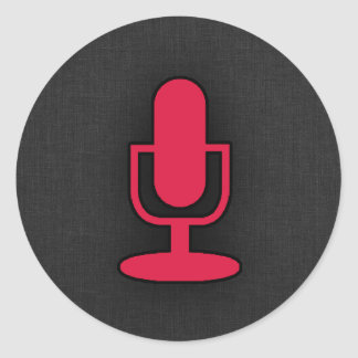 Crimson Red Microphone Classic Round Sticker
