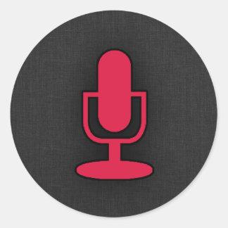 Crimson Red Microphone Round Sticker