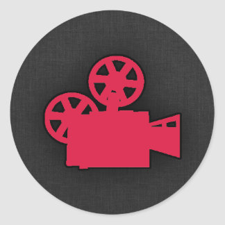 Crimson Red Movie Camera Round Stickers