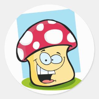 Crimson Red Mushroom Round Sticker