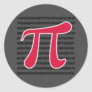 Crimson Red Pi Symbol Round Sticker