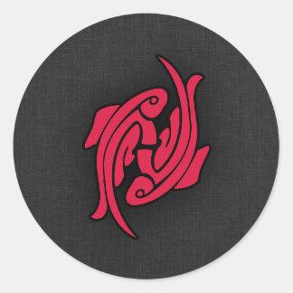 Crimson Red Pisces Round Sticker