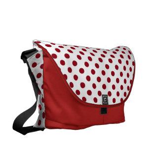 Crimson Red Polka Dots Circles Commuter Bag