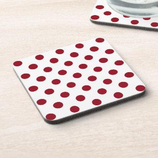 Crimson Red Polka Dots Circles Drink Coaster