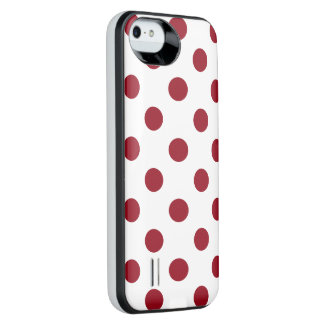 Crimson Red Polka Dots Circles iPhone SE/5/5s Battery Case
