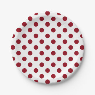 Crimson Red Polka Dots Circles 7 Inch Paper Plate