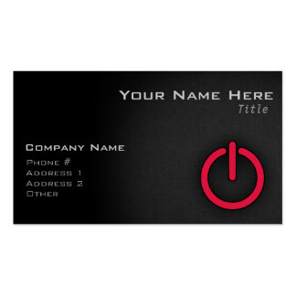Crimson Red Power Button Business Card Template