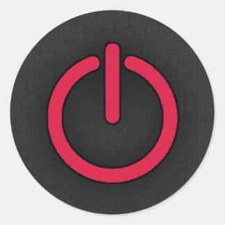 Crimson Red Power Button Round Sticker