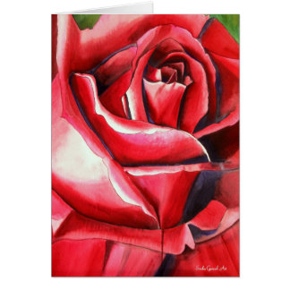 Crimson Red Rose original watercolor art painting Cards
