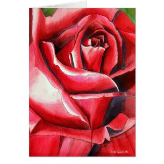 Crimson Red Rose original watercolor art painting Greeting Card