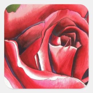 Crimson Red Rose original watercolor art Square Stickers