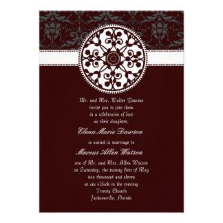 Crimson Red Rosette Wedding Invitation