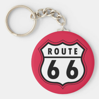 Crimson Red Route 66 Road Sign Key Ring