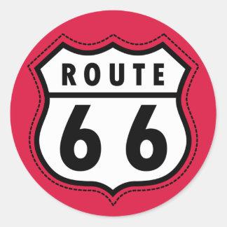 Crimson Red Route 66 Road Sign Round Sticker