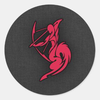 Crimson Red Sagittarius Round Sticker