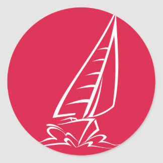 Crimson Red Sailing Round Sticker