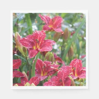 Crimson Red Shadows  Rainy Day Daylilies Paper Napkin