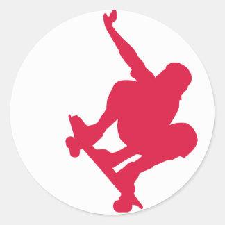 Crimson Red Skateboard Round Sticker
