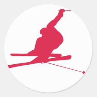 Crimson Red Snow Ski Round Sticker