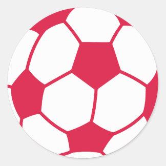 Crimson Red Soccer Ball Round Sticker