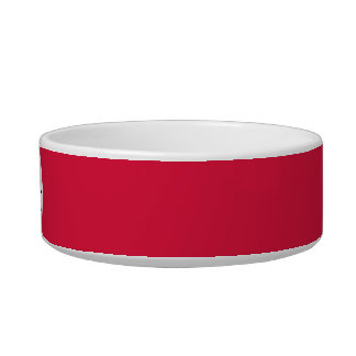 Crimson red solid color with monogram cat water bowl