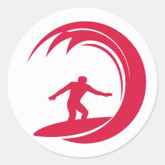 Crimson Red Surfing Round Sticker