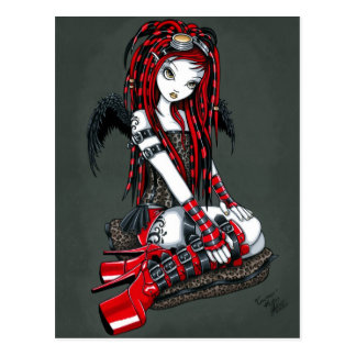 """Crimson"" Red Tattoo Cyber Goth Angel Postcard"
