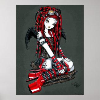 """Crimson"" Red Tattoo Cyber Goth Angel Poster"