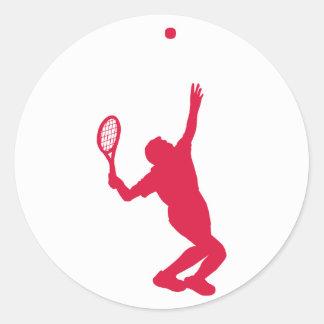 Crimson Red Tennis Round Sticker