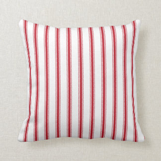 Crimson Red Ticking Tape Pillow