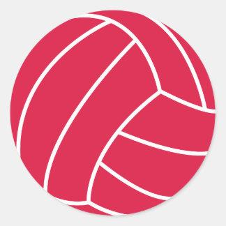Crimson Red Volleyball Round Sticker