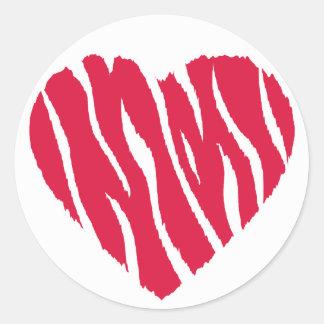 Crimson Red Wild Heart Round Sticker