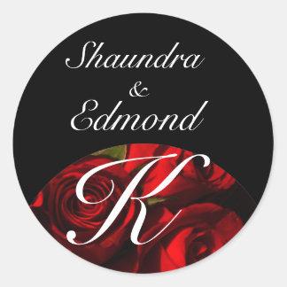 """Crimson Rose Bouquet"" - Names/Initial [b] Round Sticker"
