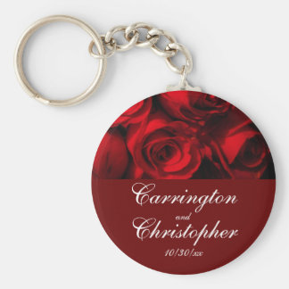 """Crimson Rose Bouquet"" - Personalized [a] Key Ring"