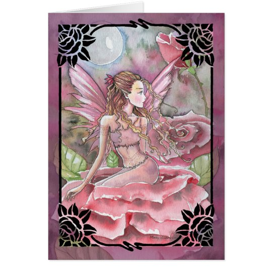Crimson Rose Fairy Blank Greetin Card