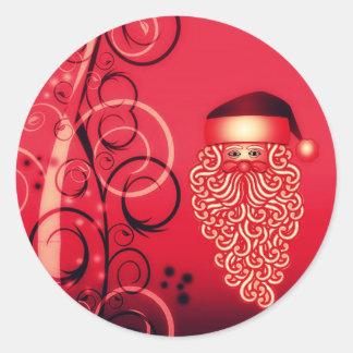 Crimson Santa face Christmas postcard Round Sticker