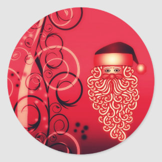 Crimson Santa face Christmas postcard Sticker