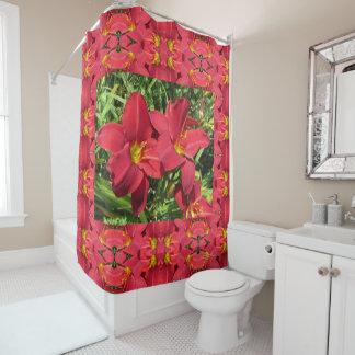 Crimson Shadows Daylilies Shower Curtain