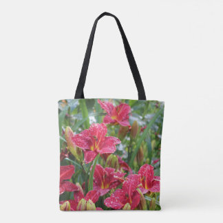 Crimson Shadows Rainy Day Daylilies Tote Bag