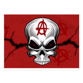 Crimson Skull Anarchy Postcard